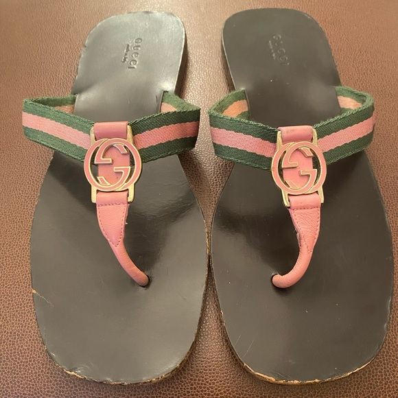 Authentic Gucci Gg Web Thong Sandals